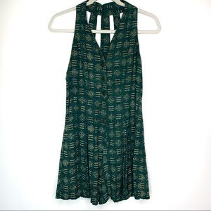 Vintage Button Front Strappy Ethnic Print Romper